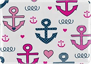 Mydaily Cute Anchor And Heart Leather Passport Holder Cover Case Protector