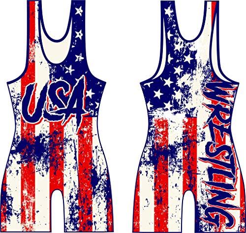 KO Sports Gear Wrestling Singlet USA Wrestling (Youth S: 40-55 lbs)