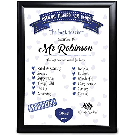 Personalised Teacher Gift, Official Award For Being The Best Teacher, Thank You From Children And Students, End Of Year Term, From Nursery School Customised With Name Gift For Men