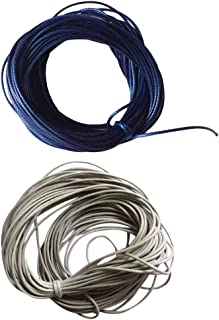 HOMYL 2 Pieces 10 Meters Waxed Nylon String Rope Cord for Jewelry Making 1mm Grey Blue