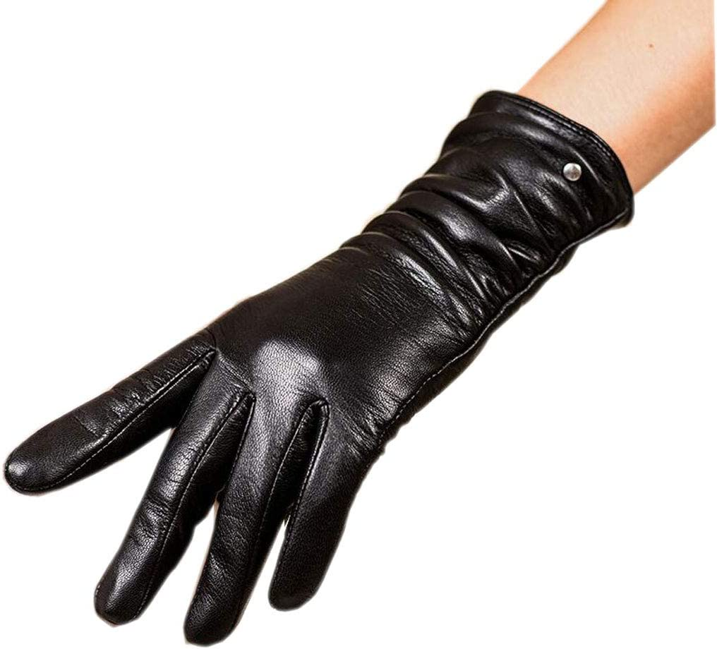 Gloves Pleated Touch Screen Black Ladies Winter Plus Velvet Thickening Warm Five Full Finger Riding Driving MUMUJIN (Size : L)