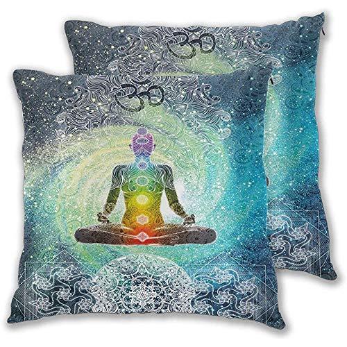 Juego de 2 Fundas de cojín, diseño de Mandala, meditación Zen, Estilo Hippie con Letrero, Chakra, Estampado, Funda de Almohada Decorativa Cuadrada, 18x18 Pulgadas