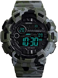 TONSHEN Simple Design Fashion Outdoor Sport Watch for Men and Boy 50M Waterproof LED Electronic Double Time Military Multifunction Digital Watches Plastic Case with Rubber Band (Camo)