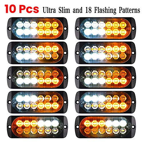 Luixxuer 10pcs Emergency Strobe Lamps 12-LED Surface Mount Flashing Lights for Truck Car Vehicle Waterproof LED Emergency Beacon Hazard Warning light 12V-24V Universal Car Accessories(Amber/White)