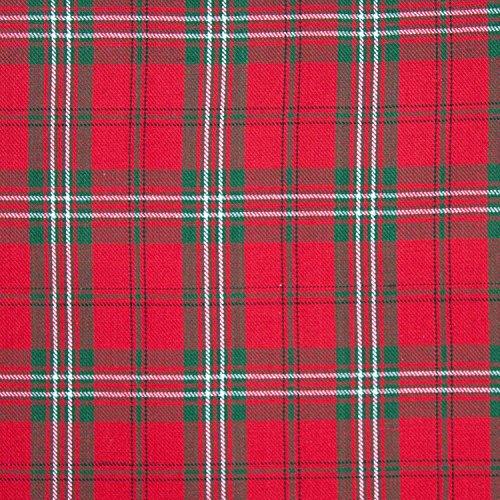 HOMESCAPES – Tissu en Pur Coton – Carreaux Edward Tartan – Rouge Vert – 150 cm Largeur – Approprié pour la Fabrication des Rideaux et des Tapis et Tissus d'Ameublement