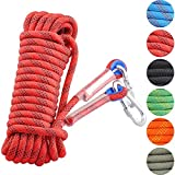 Syiswei Static Rock Climbing Rope 12MM, Upgraded Carabiners Outdoor...