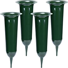 COM-FOUR® 4x grafvazen - kerkhofvaas met grondpen - insteekvaas als grafdecoratie (04 stuks - grafvaas)