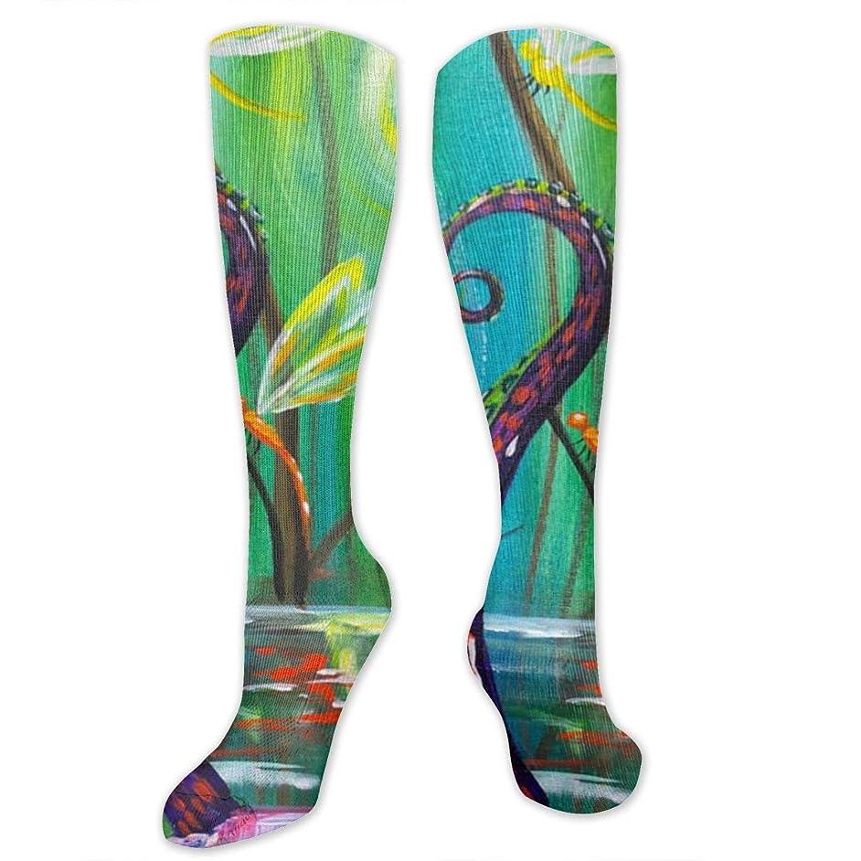 領事館すべて司教靴下,ストッキング,野生のジョーカー,実際,秋の本質,冬必須,サマーウェア&RBXAA Fantasy Octopus Dragonfly Socks Women's Winter Cotton Long Tube Socks Knee High Graduated Compression Socks