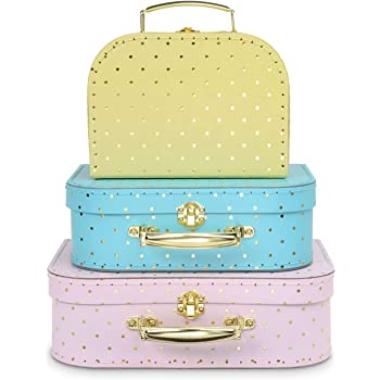 Jewelkeeper Paperboard Suitcases, Set of 3 – Nesting Storage Gift Boxes for Birthday Wedding Easter Nursery Office Decoration Displays Toys Photos – Gold Foil Polka Dot Design