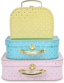 Jewelkeeper Paperboard Suitcases, Set of 3 – Nesting Storage Gift Boxes for Birthday Wedding Nursery Office Decoration Displays Toys Photos – Gold Foil Polka Dot Design