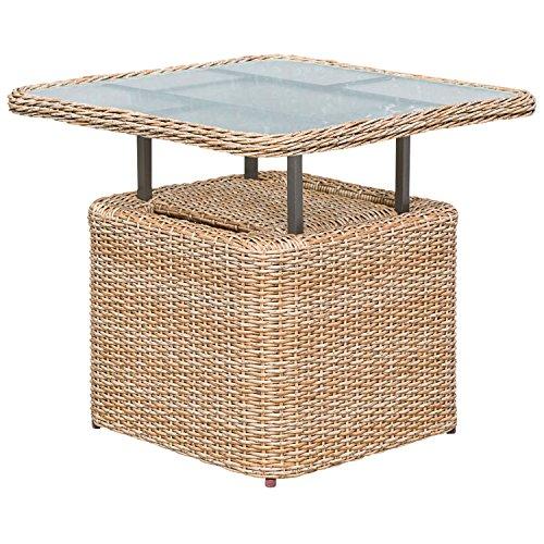 gartenmoebel-einkauf Loungetisch Veneto 72x72cm, Stahl + Polyrattan Natur, höhenverstellbar, Tischplatte Glas