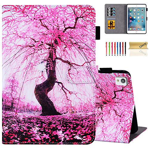 Dteck Case for iPad Air (3rd Generation) 2019 & iPad Pro 2017 Tablet 10.5-Inch/iPad 7th Generation Tablet 10.2 Inch 2019, Smart Stand Wallet Flip Cover with Auto Sleep Wake/Stylus Pen (Pink Cherry)