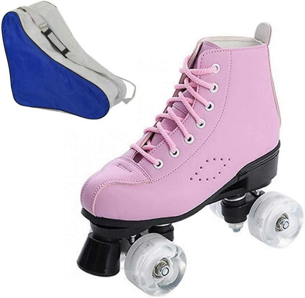 Womens Roller Skates PU Leather High-top Roller Skates Four-Wheel Roller Skates Shiny Roller Skates with Carry Bag for Girls
