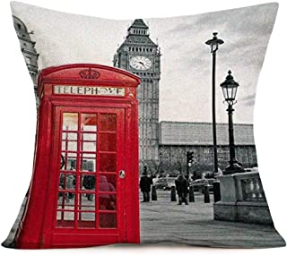 Hopyeer London City Throw Pillow Case Red Telephone Booth Grey Streetscape Decorative Cotton Linen Square Cushion Covers Standard Pillowcase Couch Sofa Bed Men/Women 18x18 Inch (Telephone Boot)