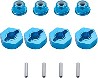 XPURC Wheel Hex Drive Hub Adaptor 12mm Aluminum 4Pcs and M4 Locknut 4Pcs Apply Rc car (Blue)
