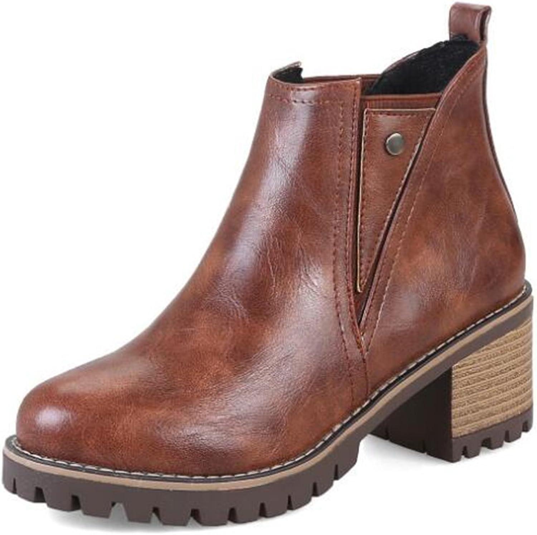 IDIFU Women's Fashion Closed Round Toe Mid Chunky Heels Short Chelsea Boots