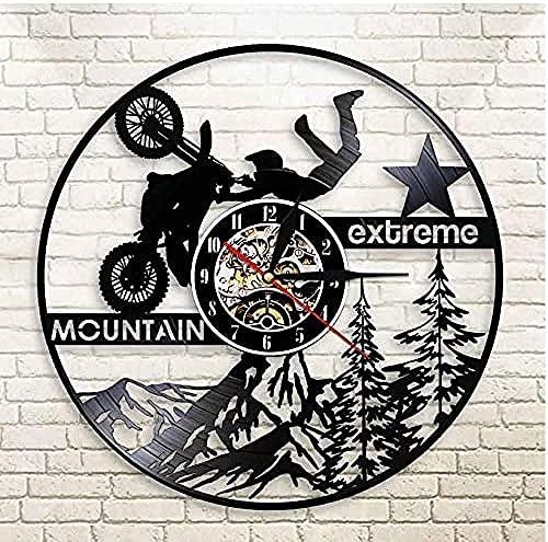 XYLLYT Reloj de Vinilo Navidad Reloj de Pared de Vinilo Grabado con láser Bicicleta de montaña Extrema Motocross Motocicleta Dirt Bike Reloj de Pulsera Antideslizante