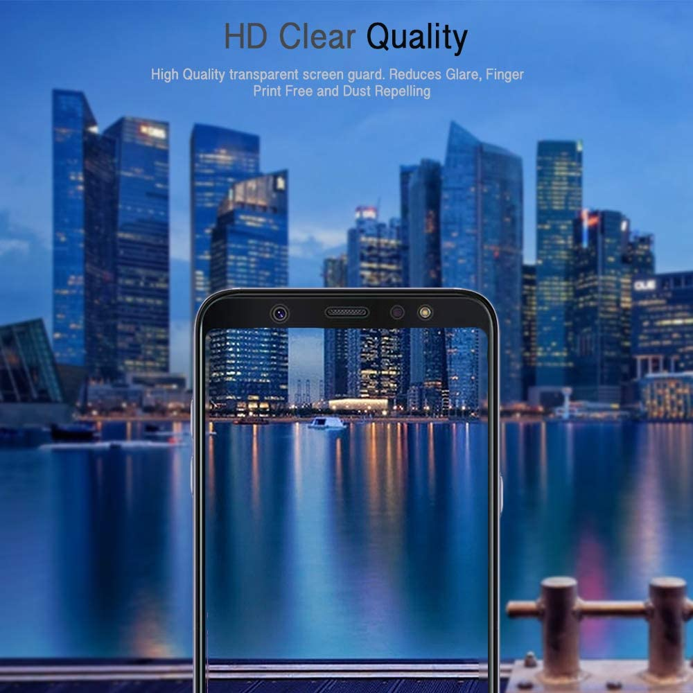 Zizo Full Glue Glass Tempered Glass Screen Protector Compatible with Samsung Galaxy A6-0.33mm Thickness Anti Scratch with 9H Hardness Black