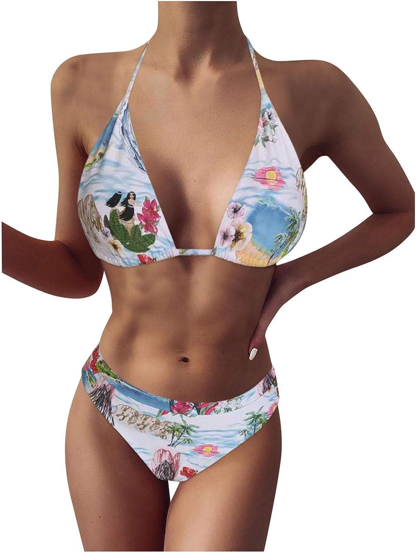 XUETON Sacramento Mall Women's Printed Max 83% OFF Two Piece Bikini Triangle Halter Set Top