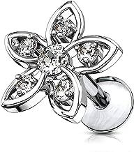 Forbidden Body Jewelry 16g Internally Threaded Surgical Steel CZ Flower Top Cartilage Stud (Choose Length)