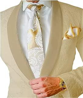 Premium Jacquard Paisley Floral Pattern Slim Fit Tuxedo Prom Wedding Groom Single Breasted Blazer Suits