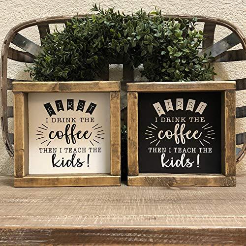 H34565ard Eerst drink ik de koffie dan leer ik de kinderen ingelijst hout teken