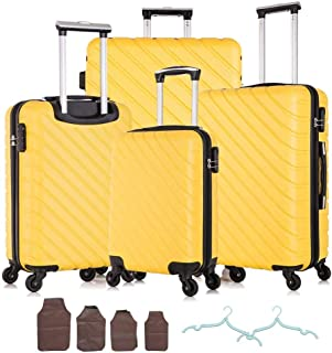 Apelila 4 Piece Hardshell Luggage Sets,Travel Suitcase,Carry On Luggage with Spinner Wheels Free Cover&Hanger Inside (Yellow)
