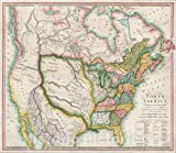 Historic Map : North America, 1804 (The First Map to Illustrate The Louisiana Purchase), 1804, Robert Wilkinson, Vintage Wall Art : 51in x 44in