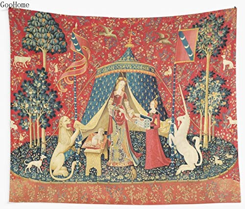 JXGG Lady And Unicorn Wish Lion Fantasy Flower Animal Red Green Flower Wall Tapestry Telo Mare Coperta in Poliestere Yoga Scialle Pad150x130cm
