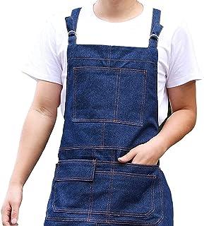 DHRH Küchenschürze  Gewaschene Schürze | 100% natürliche Baumwolle | Männer Damen Schürze für, Backen, Gartenarbeit | Praktische Taschen und Verstellbarer Riemen an Hals- und Taillenbändern, Marineblau
