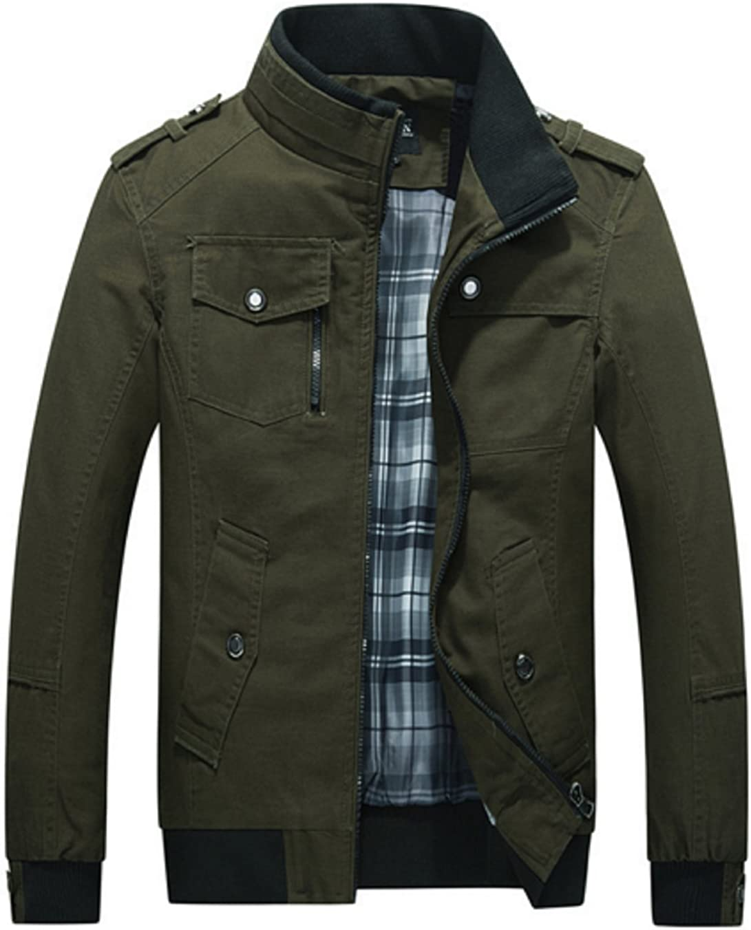 Olrek Mens Autumn and Fall Stand Colllar Outerwear Jacket Coat