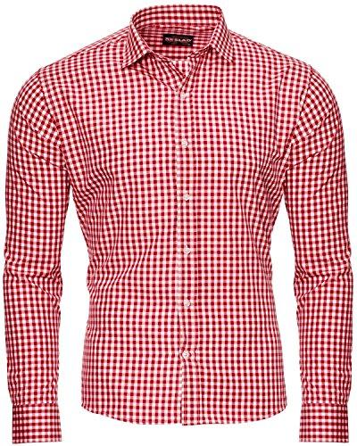 Reslad Kariertes Herren Hemd Büro Rotes Hemd Slim Fit Schnitt Karohemd Männer Bügelleichtes Hemd Langarm RS-7007 Rot Gr. XL