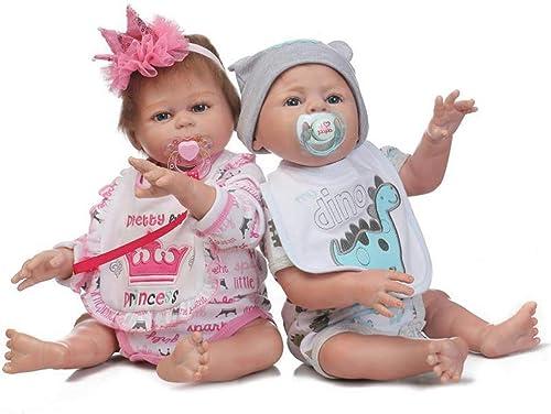 Lsrryd Babypuppen 5cm Ganz  Silikon Echt Wiedergeborene Puppe Weiß Vinyl Realistisch Neugeborenes Magnet Schnuller (Junge Und mädchen) (Größe   48cm)