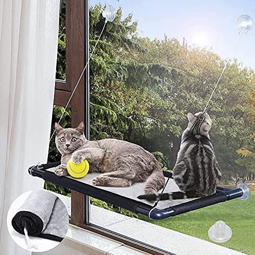 MQUPIN Fenster Katzenhängematte, Katzen Hängematte Fenster mit Weichem Mesh-Pad, Katzen Fensterplätze mit 5 Knopf-Saugnäpfe und Tragkapazität von bis zu 55 lbs (25 kg), Platzsparendes Design