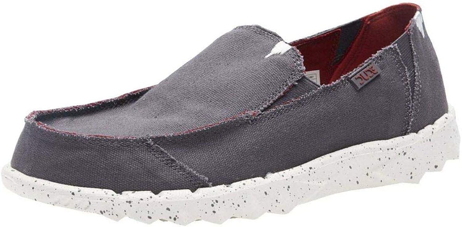 Hey Dude Farty Funk Grey Burgundy Roughcut Canvas Mens Slipons shoes