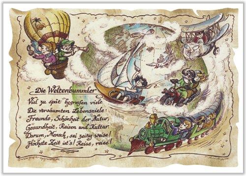 Die Staffelei Geschenk Karte Weltenbummler Globetrotter Weltreisender Zeichnung mit Gedicht, 30 x 21 cm