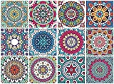 Mandala Decorative Tile Stickers Set 12 Units 6x6 inches. Peel & Stick...