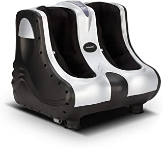 3D Shiatsu Foot Ankle Calf Massager Leg Ankle Kneading Rolling Heating Silver - 4 Motors
