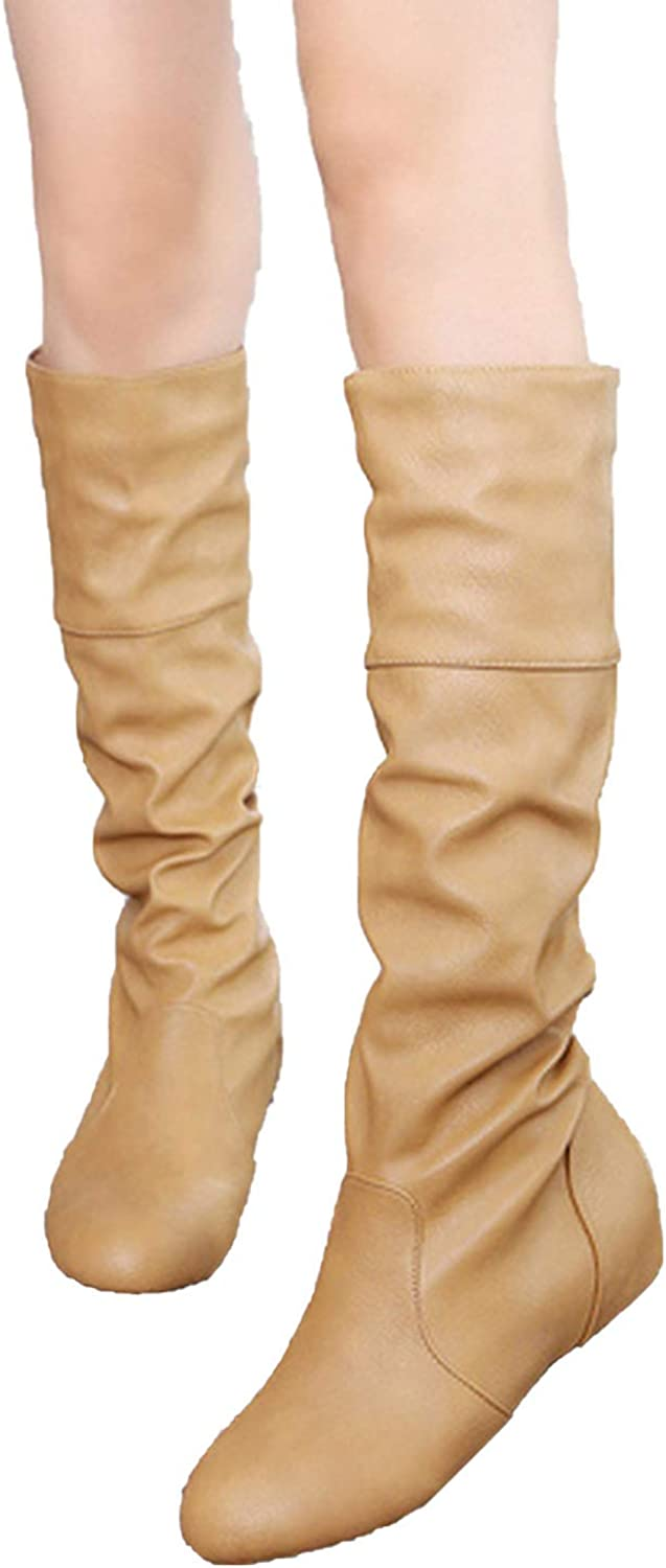 Together to create a miracle Long Boots Women Large Size Flat Boots Solid Fold Inner Increasing Fashion High Tube Leather Boots