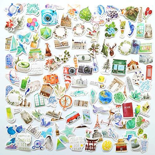 120 Stück Aquarell Reise Aufkleber und Outdoor Adventure Decals, Cartoon wasserdicht Vinyl wasserdichte Aufkleber für Wasserflaschen, Laptops und Gepäck, niedliche Mode Sticker Pack für Jugendliche