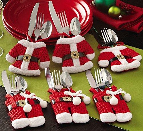 Krishan Trading Ltd KTLtd - Set di 6 portaposate con Decorazione Natalizia a Forma di Babbo Natale