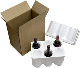 6 Bottle Styrofoam Wine Shipper with cardboard shipping box
