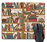 Wknoon Cat Mouse Pad, Nerd Book Lover Kitty Sleeping Over Bookshelf in Library Academics Feline Cosy Boho Design, Rectangle Non-Slip Rubber Mousepad, Multi