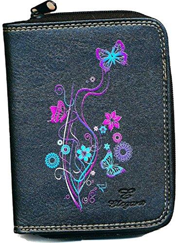 Monedero-tarjetero, diseño de flores, color negro