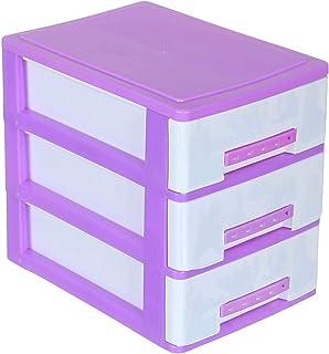 Winner Plast Plastic Storage Cabinet with Three Drawers - White and Purple