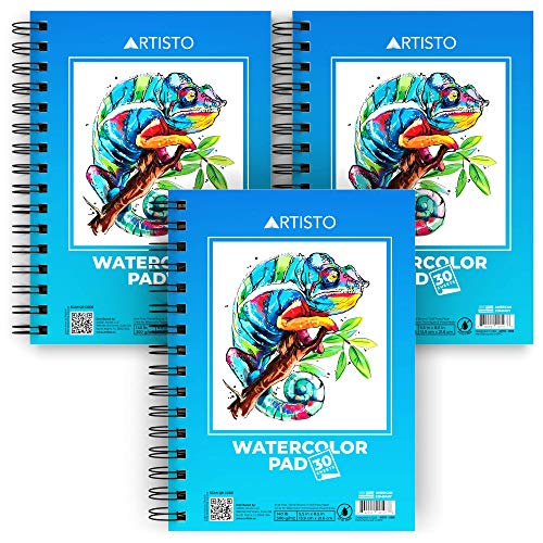 "Artisto Watercolor Pads 5.5x8.5"", Pack of 3 (90 Sheets), Spiral Bound, Acid-Free Paper, 140lb (300gsm), Perfect for Most Wet & Dry Media, Ideal for Beginners, Artists & Professionals"