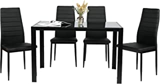 BAHOM 5 Piece Kitchen Dining Table Set for 4, Glass Table...