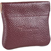 Travelambo Leather Squeeze Coin Purse Pouch Change Holder For Men & Women (Pebble Red Wine)