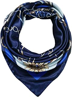 BOTINDO 35 inch Satin Scarf, Large Square Silk Like Head Scarf, Fashion Neck Scarfs for Women (Navy)