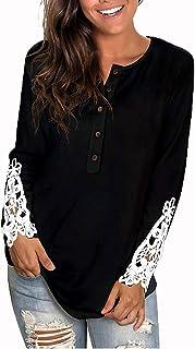 OrientalPort - Camicetta da donna, elegante, a maniche lunghe, stile vintage, patchwork